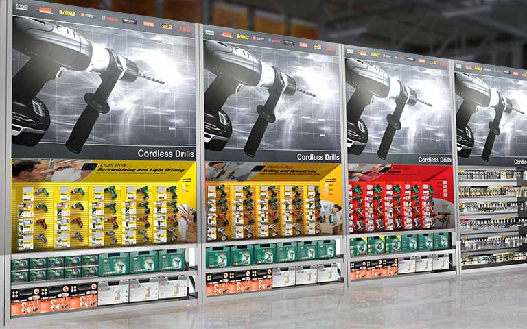 B&Q power tools display bay concept – Bosch powertools