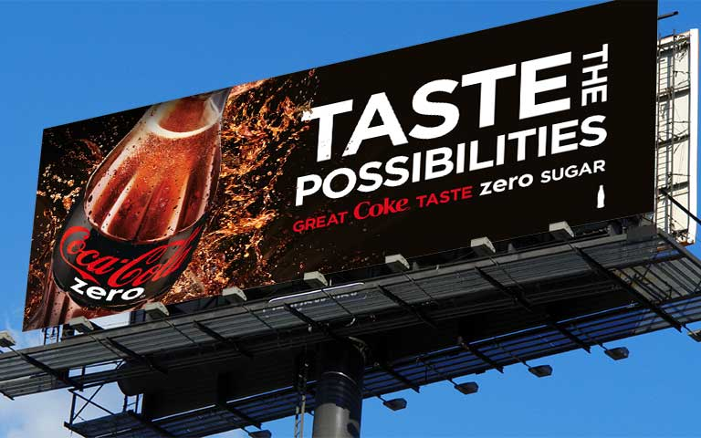 Advertising campaign image templates for Coke Zero