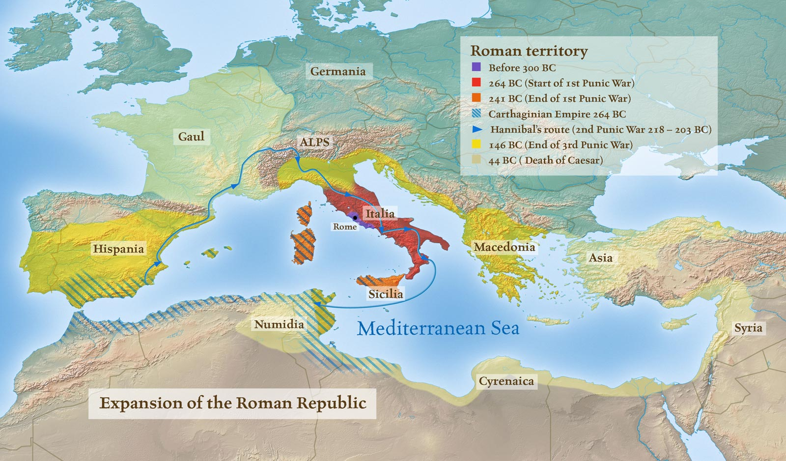 History map - Expansion of the Roman republic