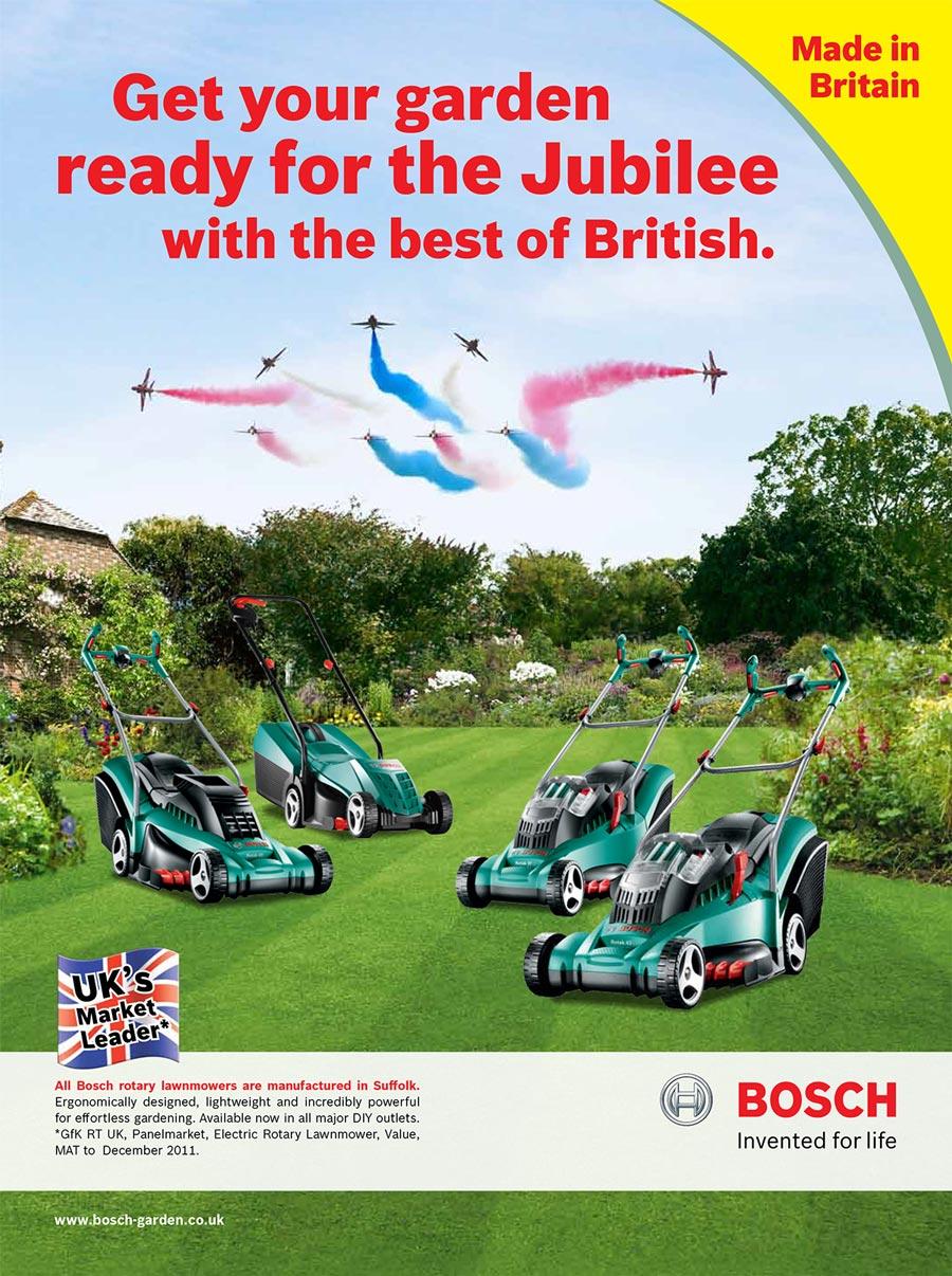 Bosch lawn mowers jubilee advert