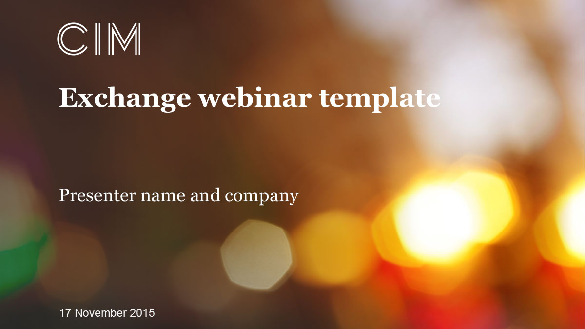 CIM Exchange webinar PowerPoint template - title slide