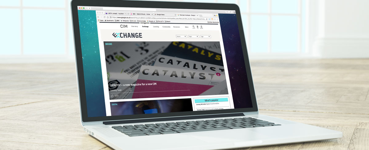 The Chartered Institute of Marketing – Exchange website on MacBook