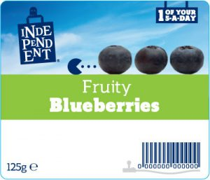 Independent stores fruit label - blueberries