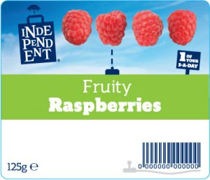 Independent stores fruit label - raspberries