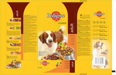 Pedigree dry dog food artwork