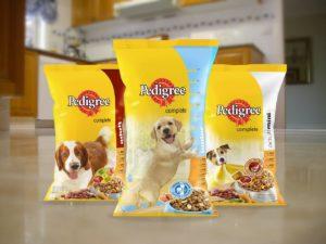 Pedigree dry food bags on floor