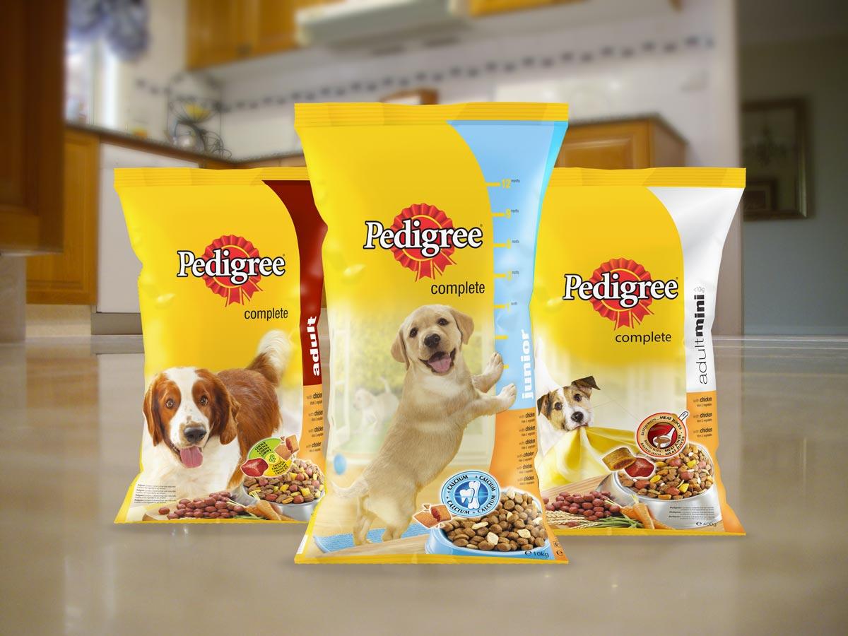 Pedigree dry dog food packaging - on floor