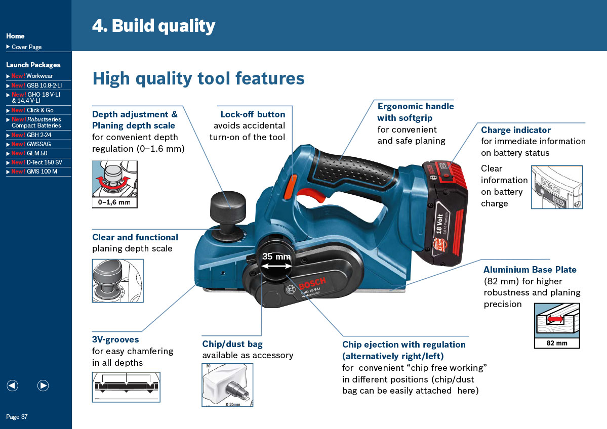 Bosch interactive PDF - power tool page