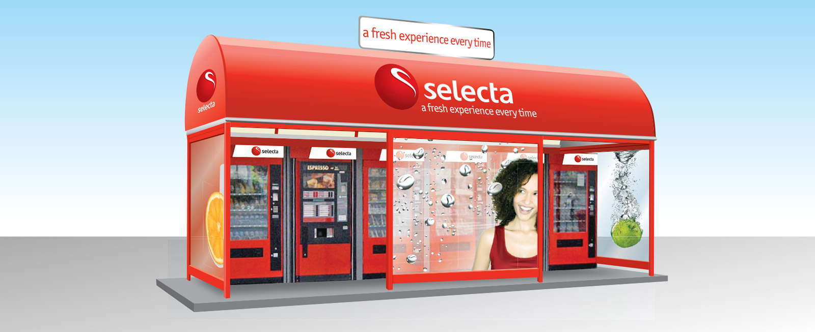Mock-up visualisation for Compass Group - Selecta bus stop visual