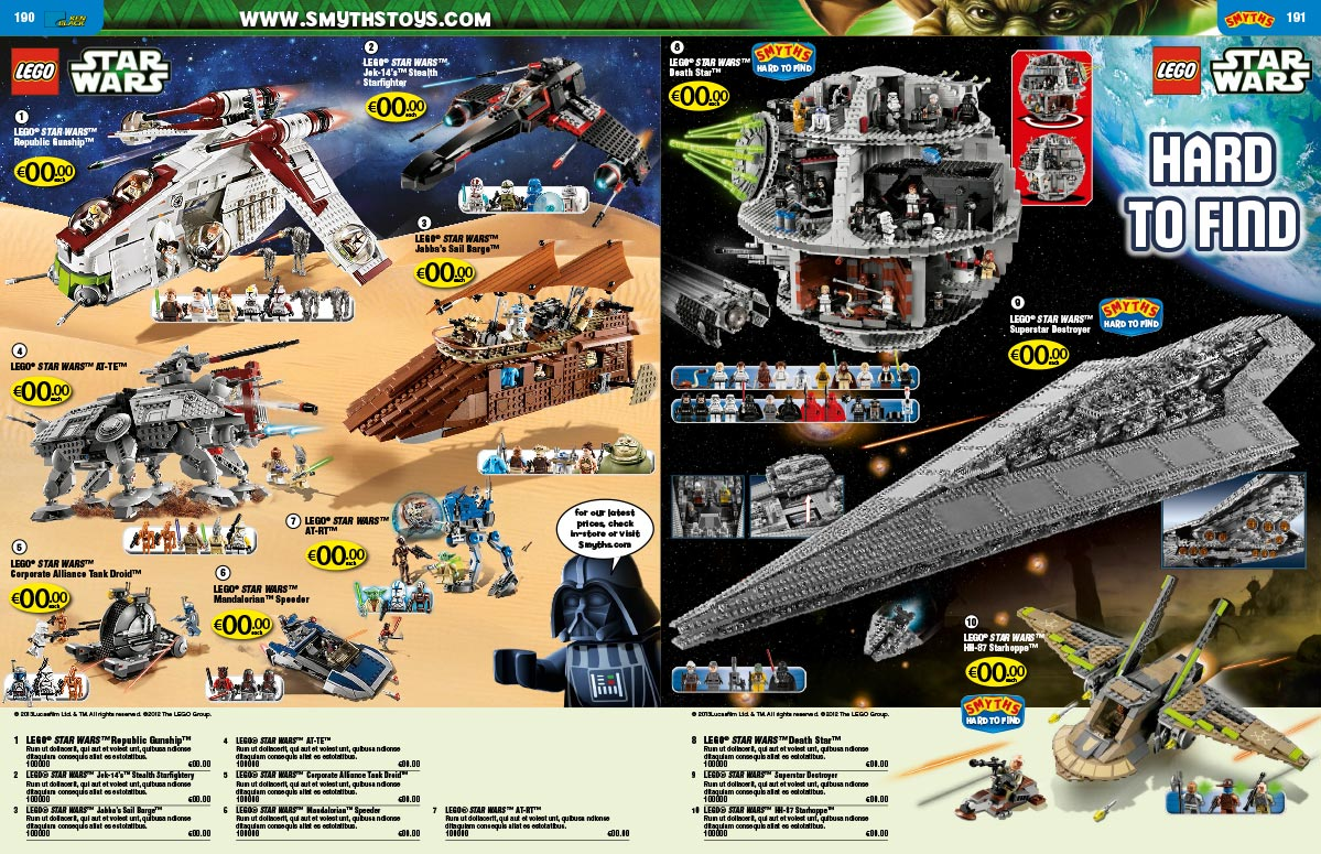 LEGO Smyths catalogue pages Star Wars