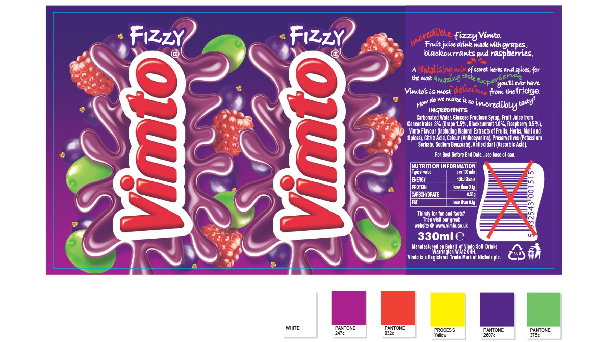 Vimto drinks packaging - 330ml can artwork