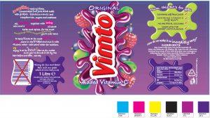 Vimto packaging bottle artwork