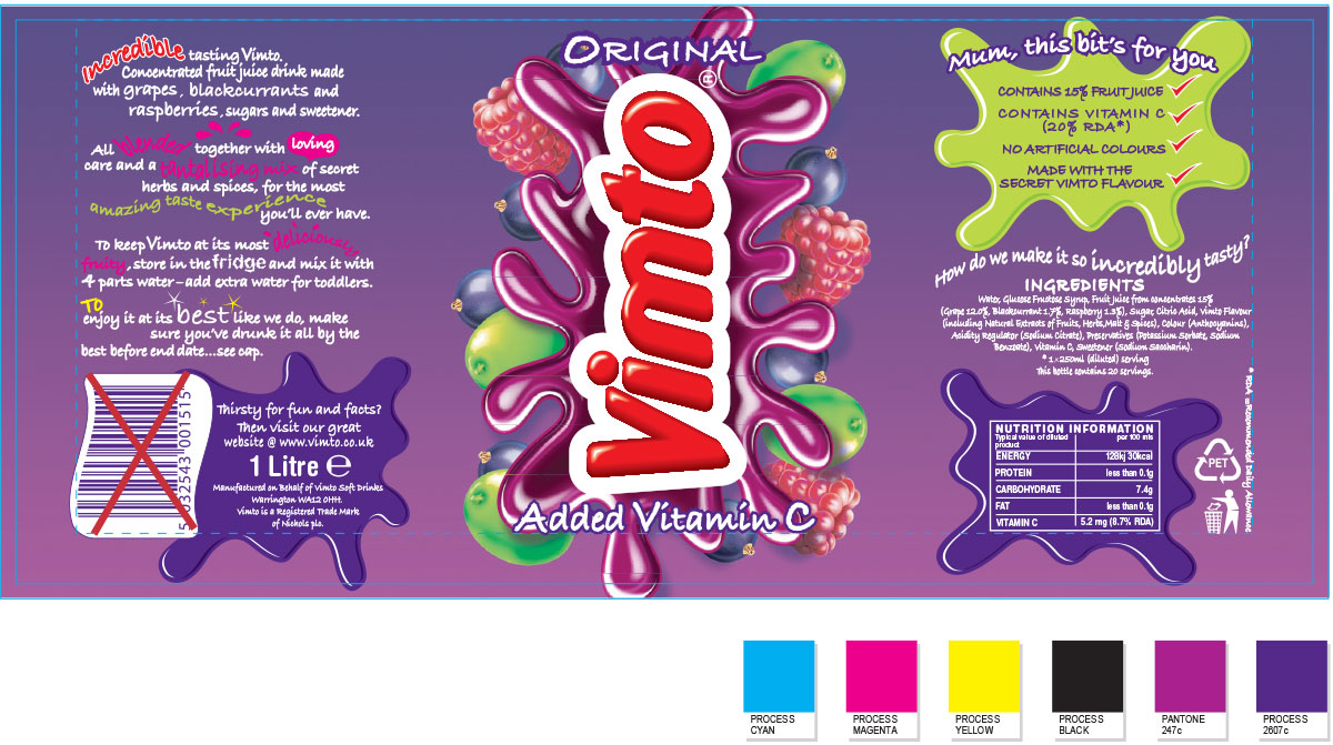 Vimto drinks packaging - bottle artwork