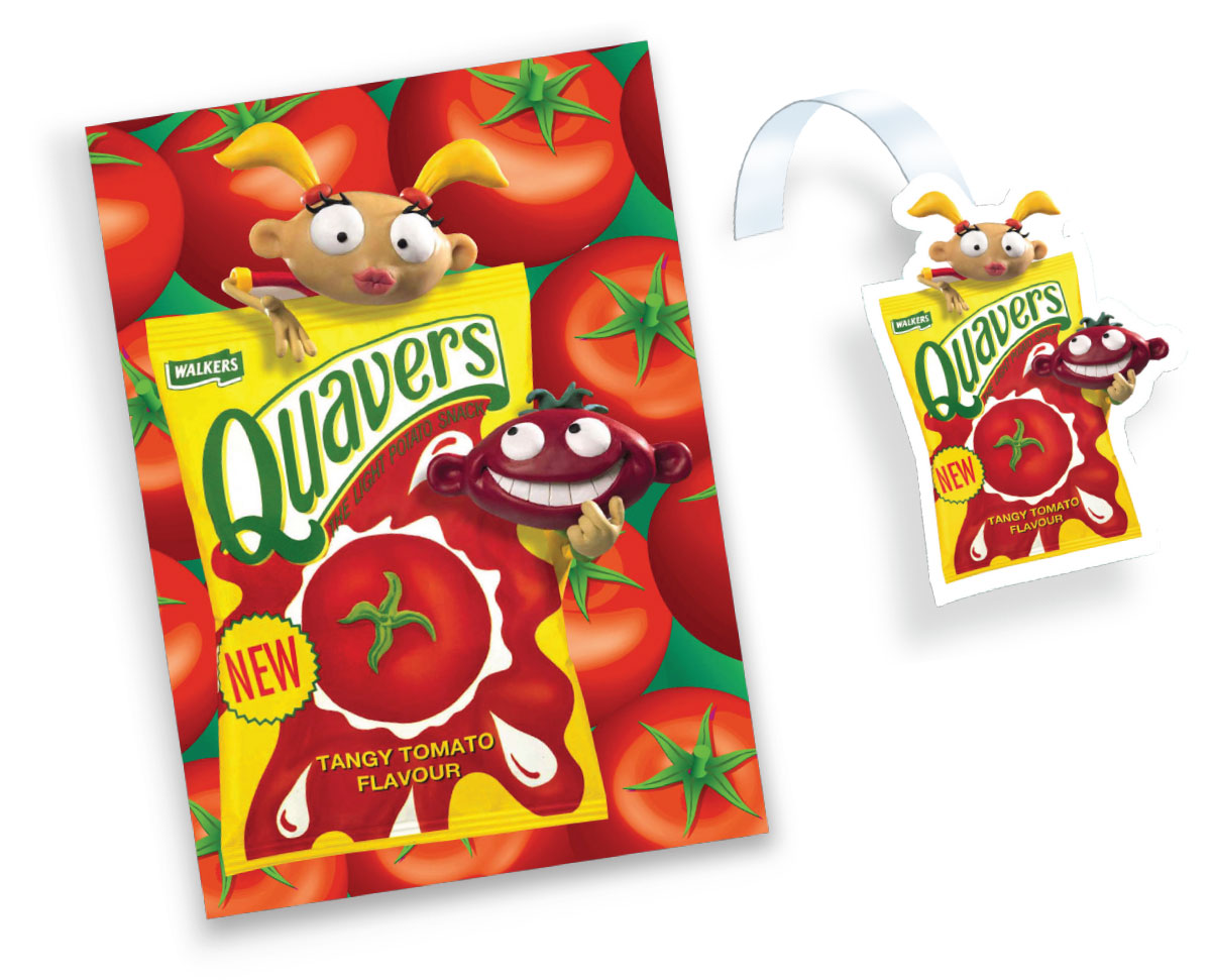 Walkers crisps Quavers Tangy Tomato Point of Sale - poster and wobbler