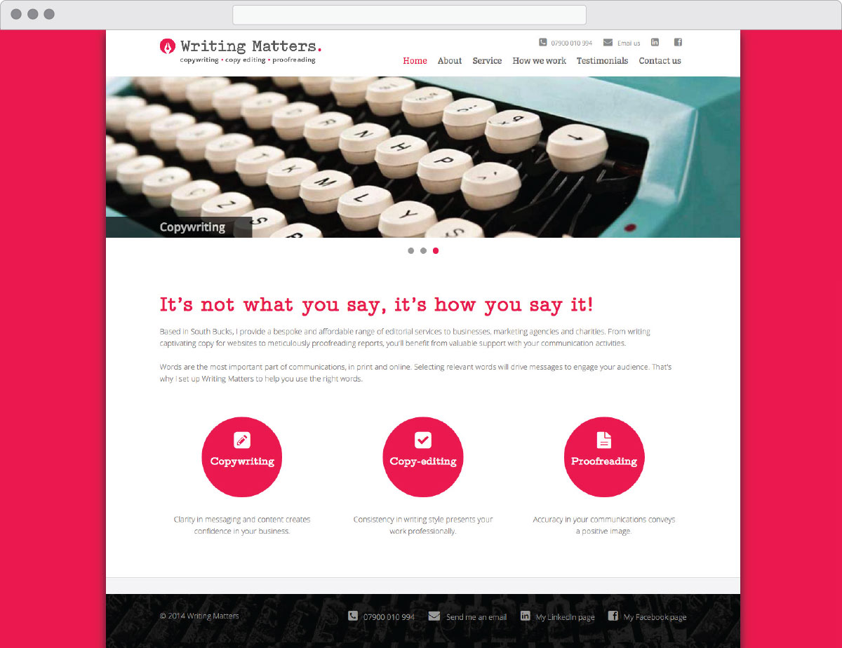 Writing Matters website – homepage
