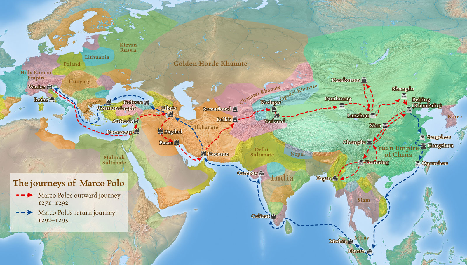 Map of the journeys of  Marco Polo